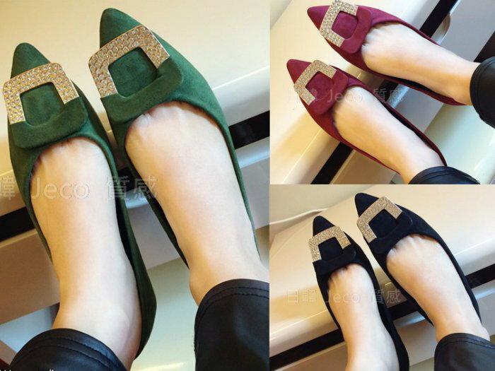 Jeco日韓質感-韓國淑女款尖頭水鑽平底鞋