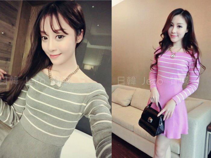 Jeco日韓質感-韓國東大門甜美條紋收腰顯瘦針織連身裙洋裝