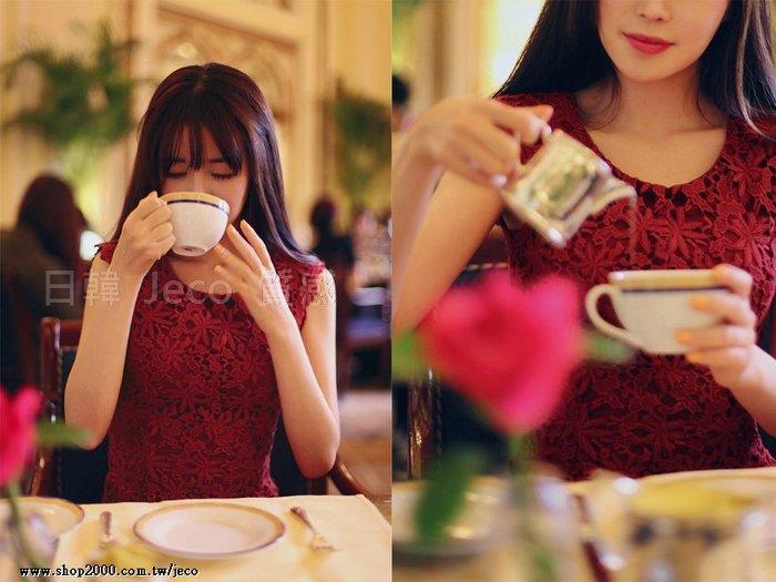Jeco日韓 ~韓國連線修身顯瘦鏤空蕾絲圓領連衣裙洋裝