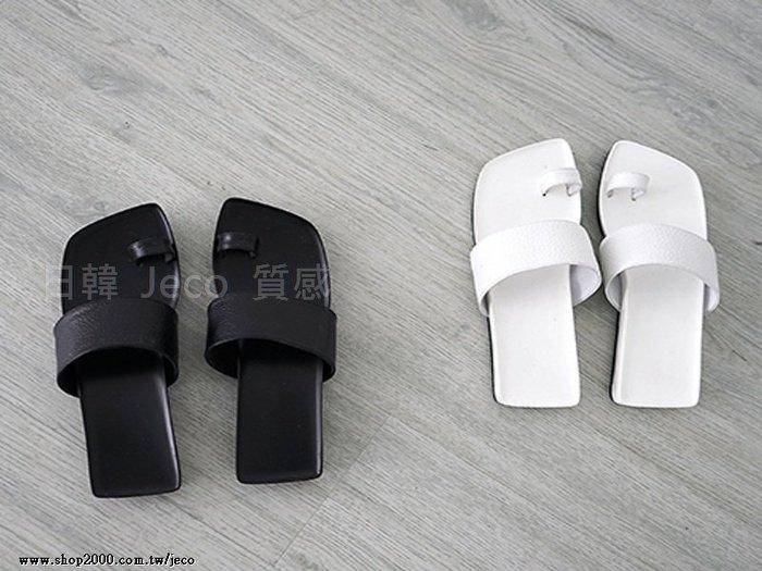 Jeco日韓質感-歐美款真皮個性平底套趾一字平跟涼鞋
