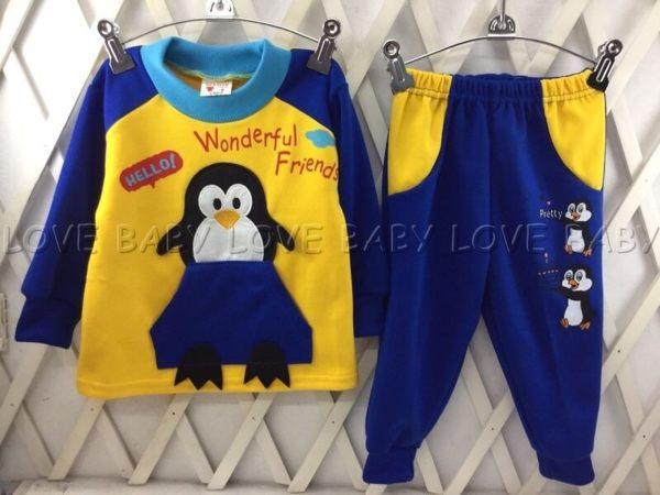 ☆╮寶貝丹童裝╭☆ 可愛 企鵝 造型 透氣 舒適 男女童 上衣+小褲 長袖 套裝 新款 現貨 ☆