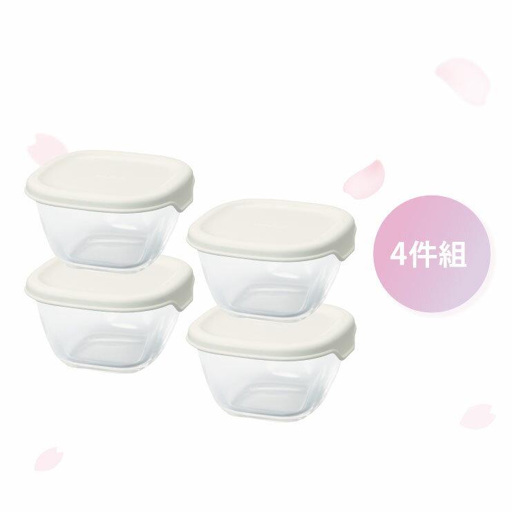 HARIO 方形玻璃保鮮盒4件組/白色/MKK-2012-OW 0
