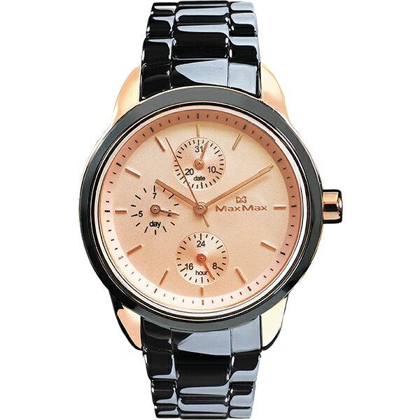 MaxMaxMAS7003S-12法式甜美女孩時尚腕錶-黑陶玫瑰金37mm
