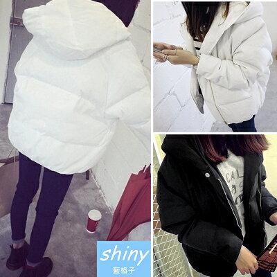 《全店399免運》【V0280】shiny藍格子-暖感氣息‧素面超保暖拉鍊舖棉連帽外套