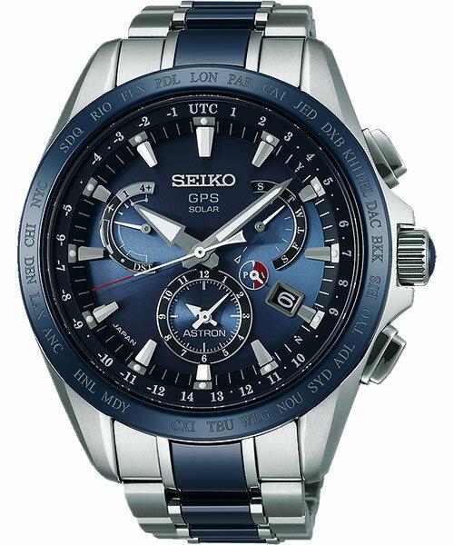 Seiko Astron 8X53-0AB0B(SSE043J1)鈦金屬半陶時尚太陽能GPS校時腕錶/藍面44.6mm