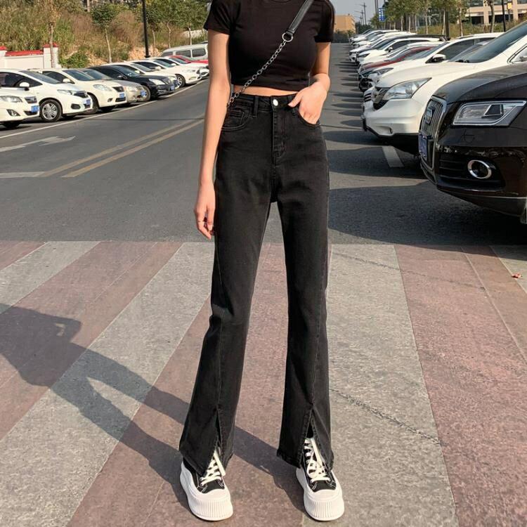 開叉黑色直筒微喇叭牛仔褲女2021年新款春秋高腰顯瘦分叉寬鬆闊腿 韓語空間 果果輕時尚
