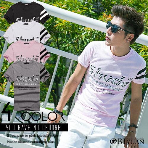 短T【L05101】OBI YUAN韓版美式休閒斑馬條紋 SHUDA印花短袖T恤共4色