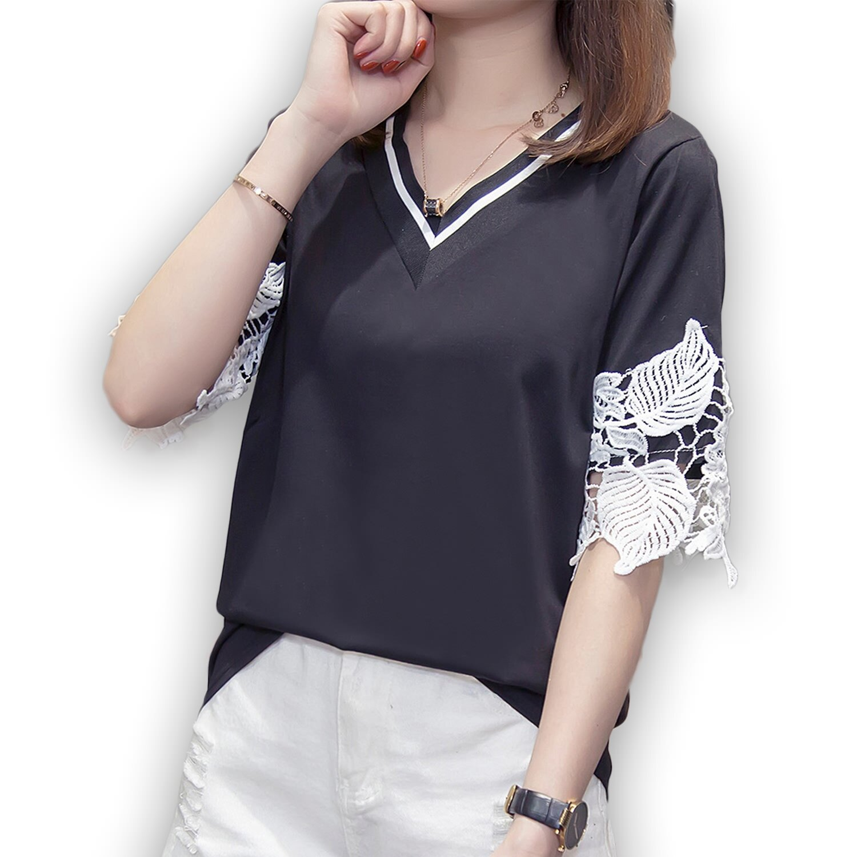 蕾絲袖--氣質優雅布蕾絲五分袖線條羅紋V領棉質上衣(白.黑L-3L)-T353眼圈熊中大尺碼 0