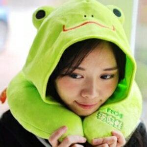 美麗大街【106010823】綠青蛙 造型連帽U型靠枕 頸枕 辦公室小物