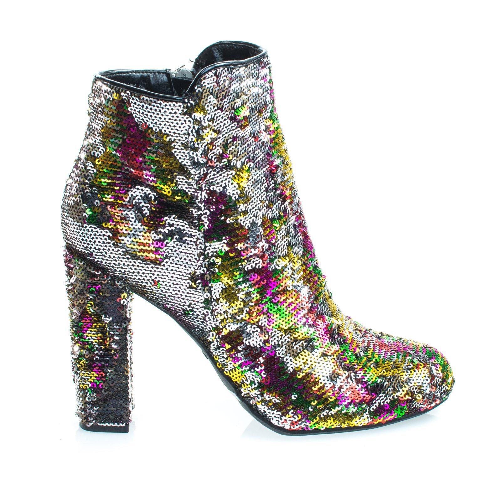 ca2123ddb Aquapillar  Living39 Rainbow   Silver Reversible Sequins Block Heel ...