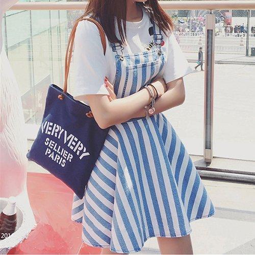 吊帶裙 - 胸前口袋設計條紋蓬蓬吊帶短裙【23292】藍色巴黎 - 現貨+預購 1