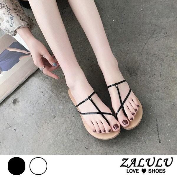 ZALULU愛鞋館7EE106預購顯瘦款細繩平底美型拖鞋-米黑-35-39