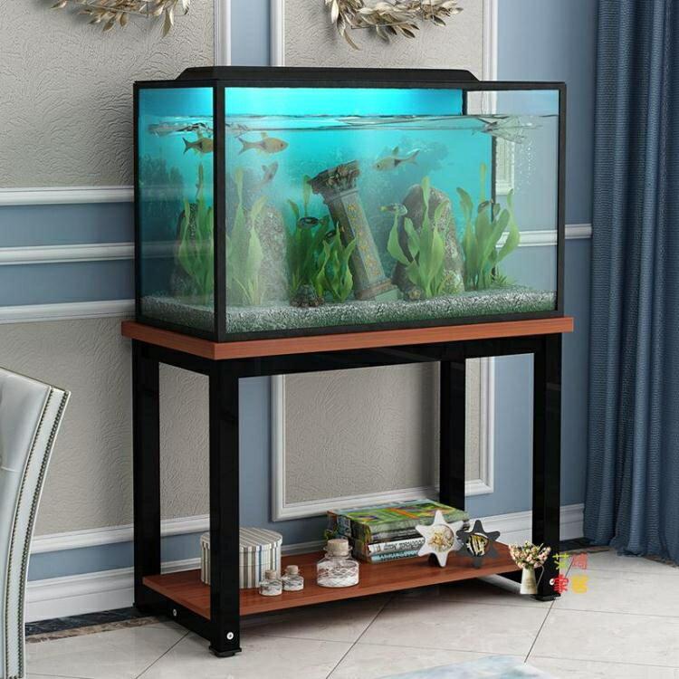 魚缸架 鋼木魚缸底櫃金屬底架底座草缸魚缸架子鐵藝定做魚缸架T 8號時光