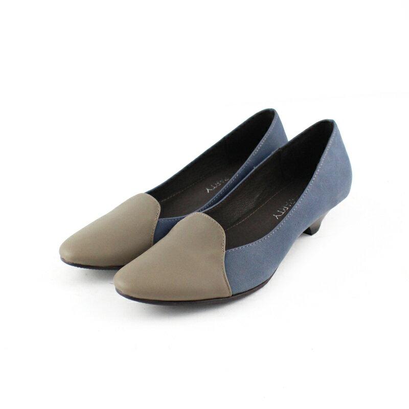 【P2-17123L】拚色氣質真皮低跟鞋_Shoes Party 4