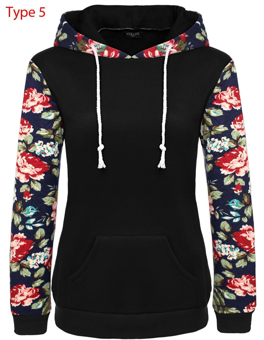 Women Long Sleeve Print Casual Hooded Pullover Hoodie 3