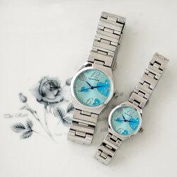 Daniel Wang 3145 浪漫愛心亮鑽刻度銀色鐵帶對錶