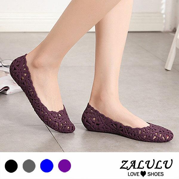 ZALULU愛鞋館7U311氣質簍空花朵平底防水雨鞋-黑灰藍紫芋-36-40