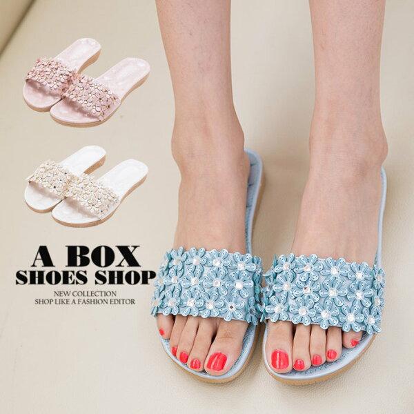 【ANS678】夏季風情時尚花朵綴飾皮革材質2CM跟高一字拖鞋3色
