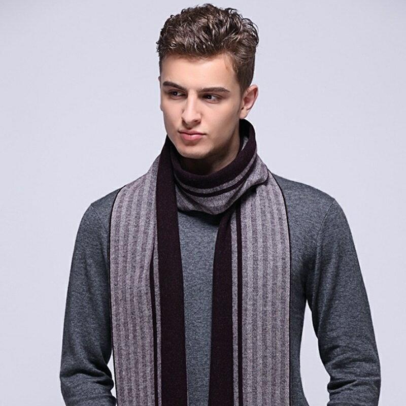 圍巾羊毛披肩-提花條紋針織商務男配件73wh75【獨家進口】【米蘭精品】