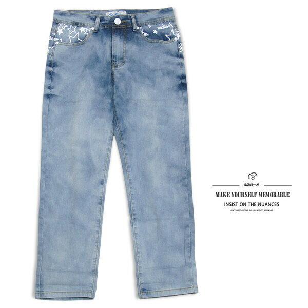 sun~e膠印星星圖案中腰彈性牛仔七分褲、伸縮七分牛仔褲、淺牛仔短褲、七分休閒褲、休閒丹寧