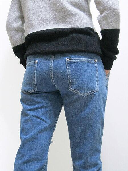sun-e前割破牛仔JOGGERS、全腰圍鬆緊抓破牛仔褲、DENIM JOGGER PANTS、牛仔縮腳褲、縮口褲、束腳褲、美式休閒潮流縮口褲、慢跑褲、褲管束腳、休閒褲、JOGGERS、牛仔長褲、抽繩束口褲、休閒長褲、腰圍寬版鬆緊帶(050-5519-31)牛仔色、(050-5519-32)淺牛仔 尺寸S、M、L、XL(腰圍:24~31英吋) (男女可穿)[實體店面保障] 4