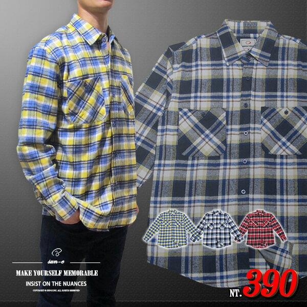 sun~e保暖法蘭絨長袖格紋襯衫、休閒長袖襯衫、百搭襯衫^(306~0029~13^)黃色