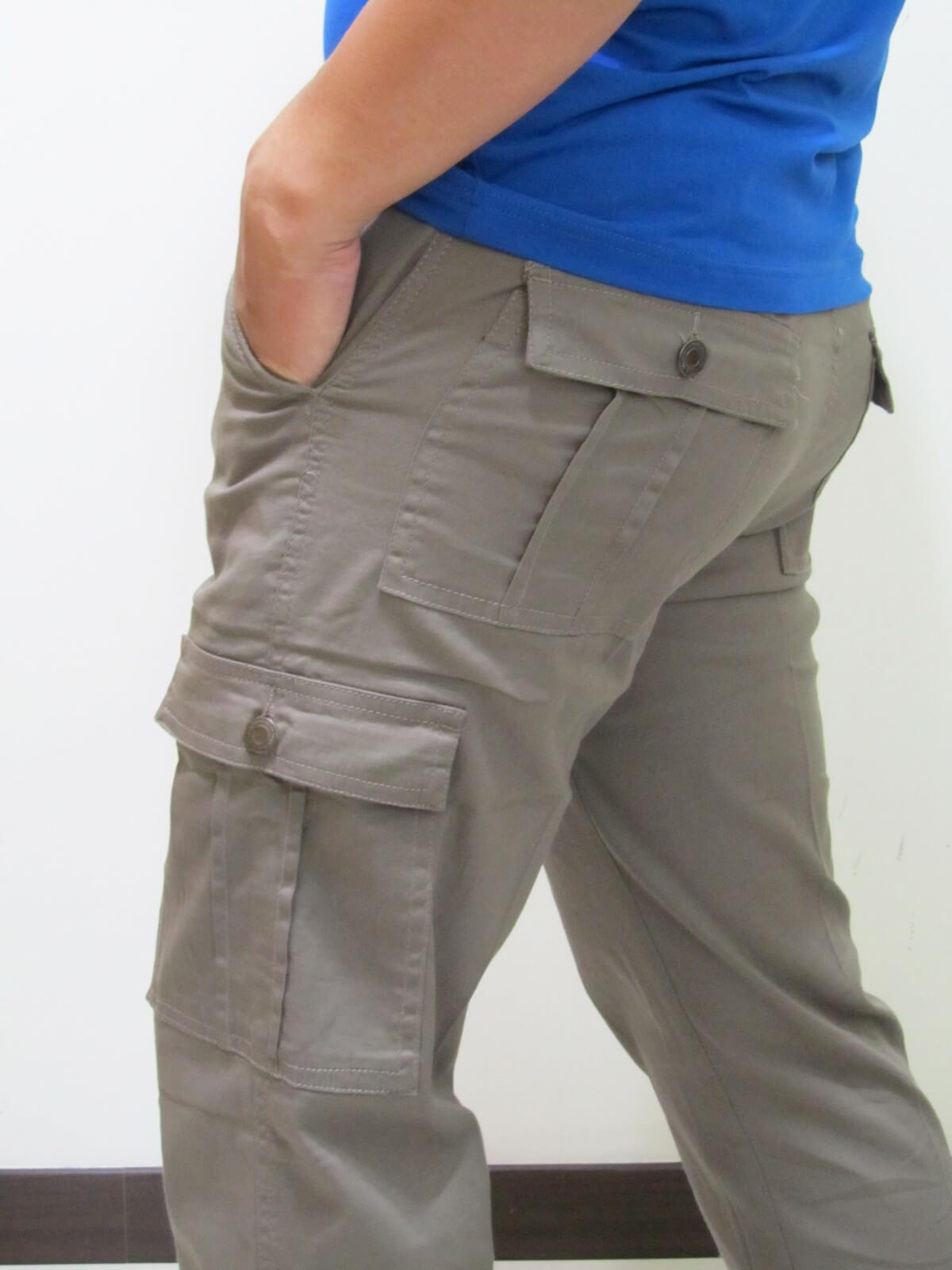 sun-e超輕薄休閒長褲、側貼袋工作褲、多口袋休閒長褲、伸縮中直筒休閒長褲(307-7006-16)卡其 腰圍:M L XL LL 3L 4L 5L(28~41英吋) 2
