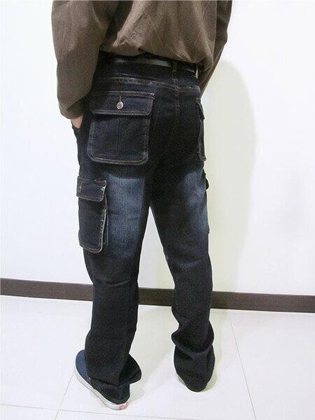 sun-e加大尺碼側貼袋彈性牛仔長褲、大尺碼伸縮立體工作褲、多口袋長褲、貓爪刷白牛仔褲、側貼袋丹寧、休閒牛仔褲、單寧長褲、側貼袋車繡龍圖案、腰圍有皮帶環(褲耳)、褲檔有拉鍊、黑色牛仔褲(307-7167-21)黑色 腰圍:M L XL 2L 3L 4L 5L(28~41英吋) [實體店面保障] 3