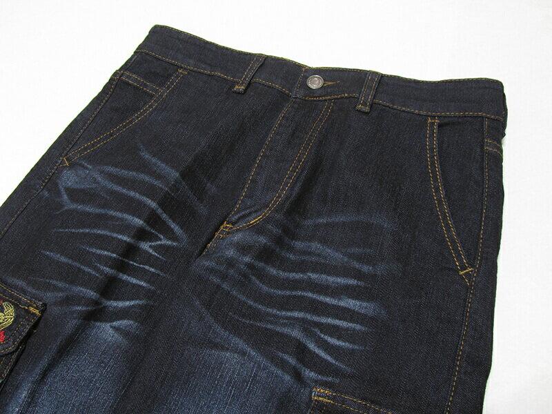 sun-e加大尺碼側貼袋彈性牛仔長褲、大尺碼伸縮立體工作褲、多口袋長褲、貓爪刷白牛仔褲、側貼袋丹寧、休閒牛仔褲、單寧長褲、側貼袋車繡龍圖案、腰圍有皮帶環(褲耳)、褲檔有拉鍊、黑色牛仔褲(307-7167-21)黑色 腰圍:M L XL 2L 3L 4L 5L(28~41英吋) [實體店面保障] 8