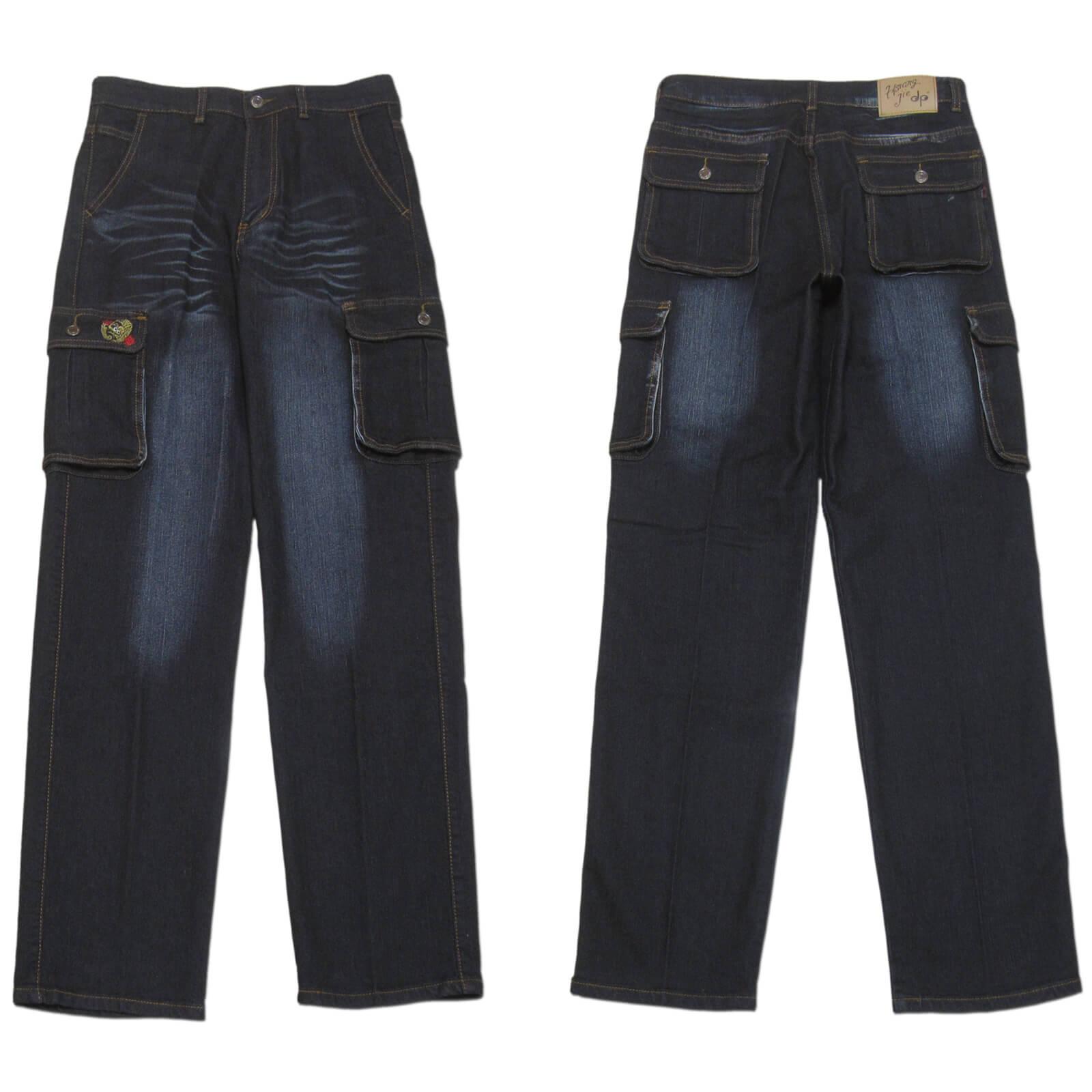 sun-e加大尺碼側貼袋彈性牛仔長褲、大尺碼伸縮立體工作褲、多口袋長褲、貓爪刷白牛仔褲、側貼袋丹寧、休閒牛仔褲、單寧長褲、側貼袋車繡龍圖案、腰圍有皮帶環(褲耳)、褲檔有拉鍊、黑色牛仔褲(307-7167-21)黑色 腰圍:M L XL 2L 3L 4L 5L(28~41英吋) [實體店面保障] 1