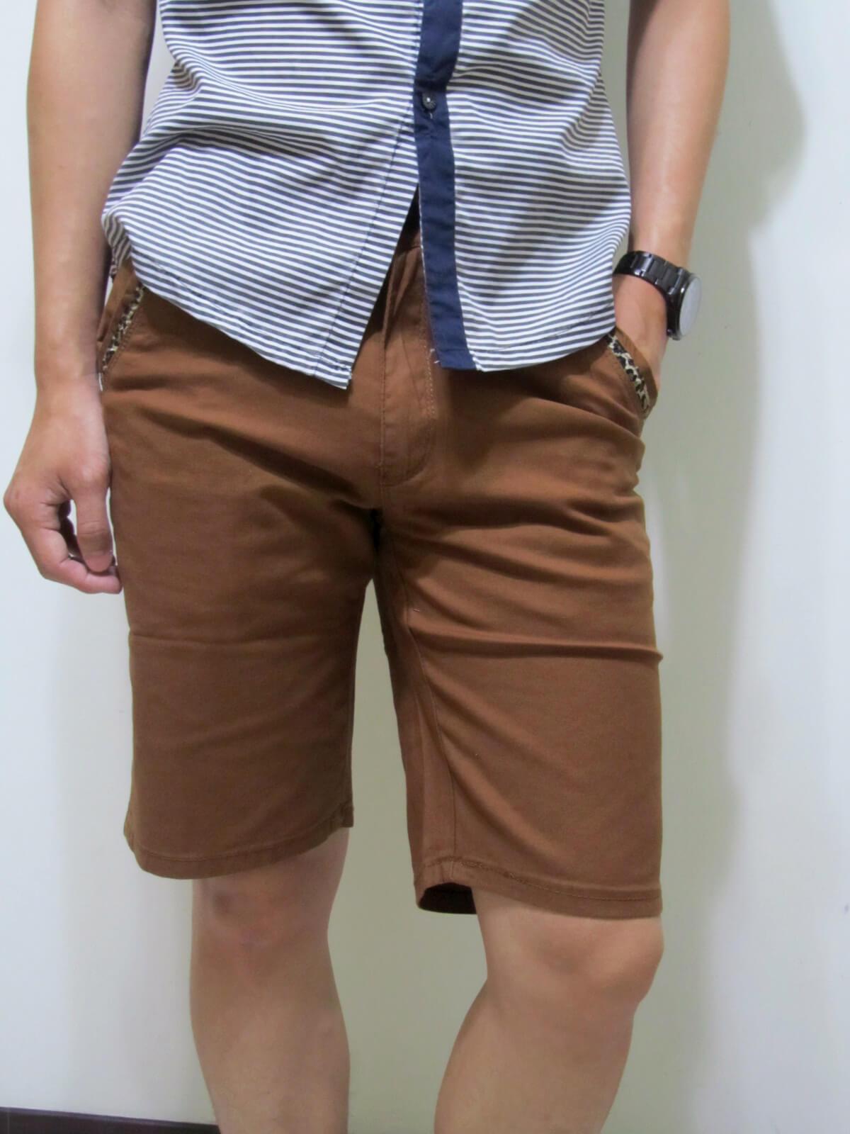 sun-e流行色褲短褲、口袋袋緣豹紋紋路滾邊、休閒短褲、腰圍有皮帶環(褲耳)、褲檔有拉鍊、咖啡色短褲(321-5176-19)咖啡 腰圍:M L XL 2L 3L(28~37英吋) 1