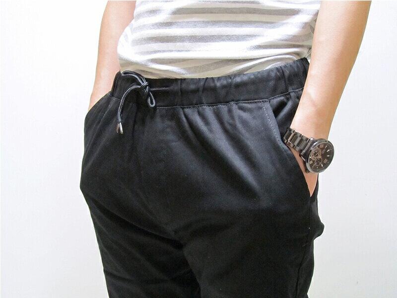 sun-e一般及加大尺碼JOGGER PANTS慢跑褲、美式褲管束口休閒褲、縮腳褲、縮口褲、顯瘦休閒褲、JOGGERS、褲管束腳褲、抽繩束口褲、街頭休閒運動風、黑色休閒長褲(321-6062-21)黑色 M、L、XL、2L(腰圍:28~35英吋) [實體店面保障] 4