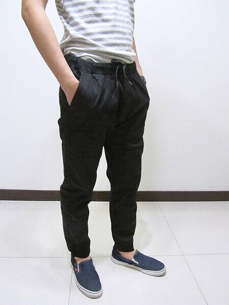 sun-e一般及加大尺碼JOGGER PANTS慢跑褲、美式褲管束口休閒褲、縮腳褲、縮口褲、顯瘦休閒褲、JOGGERS、褲管束腳褲、抽繩束口褲、街頭休閒運動風、黑色休閒長褲(321-6062-21)黑色 M、L、XL、2L(腰圍:28~35英吋) [實體店面保障] 5