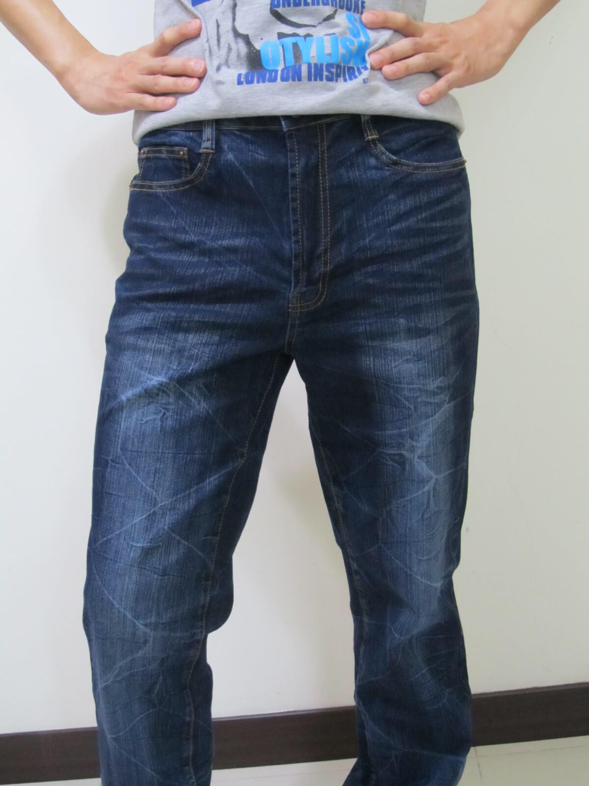 sun-e台灣製造牛仔長褲、伸縮直筒牛仔褲、台灣製單寧長褲(345-5876-31)深牛 腰圍:M L XL 2L 3L 4L (28~39)英吋 1