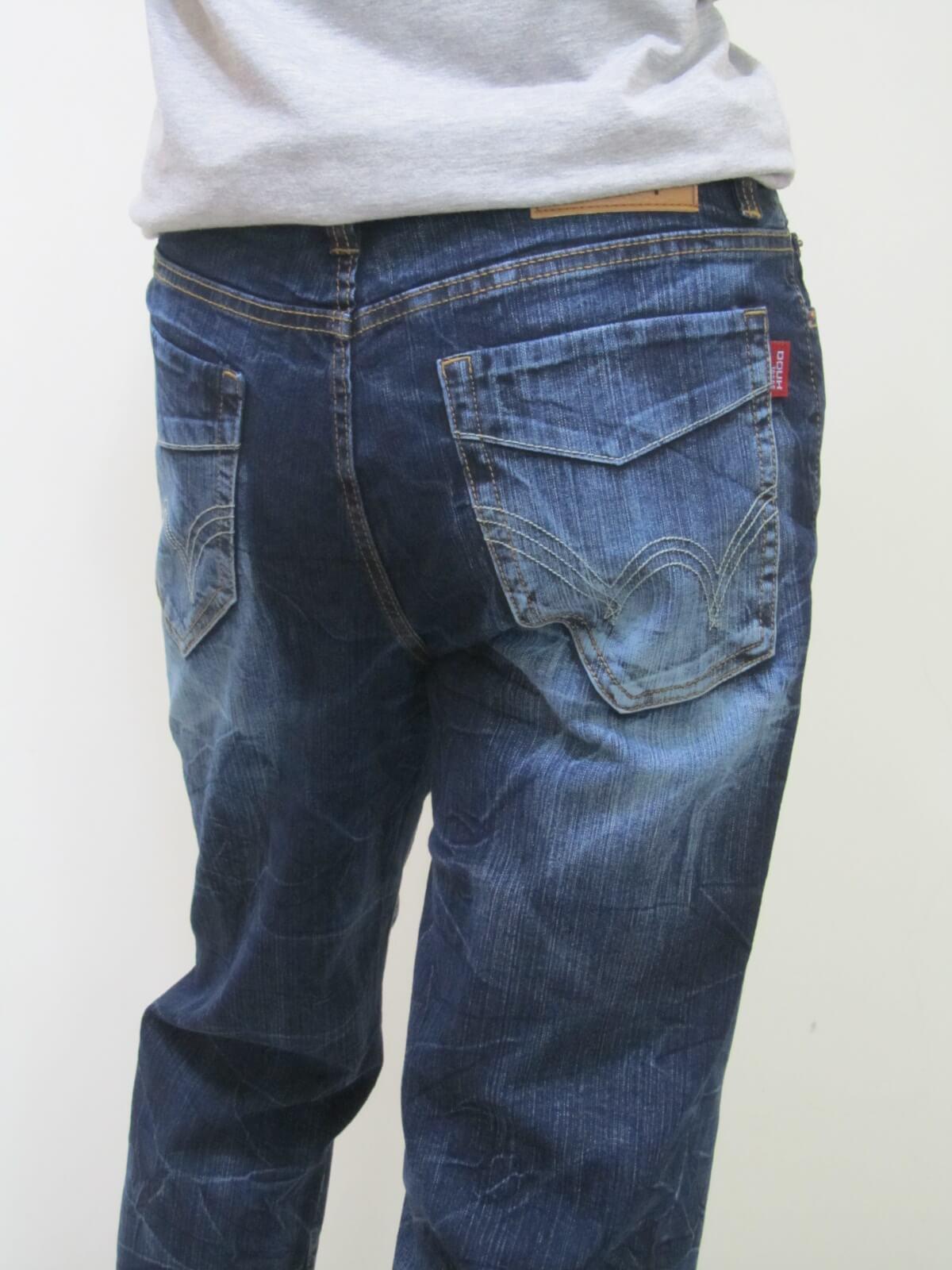 sun-e台灣製造牛仔長褲、伸縮直筒牛仔褲、台灣製單寧長褲(345-5876-31)深牛 腰圍:M L XL 2L 3L 4L (28~39)英吋 2