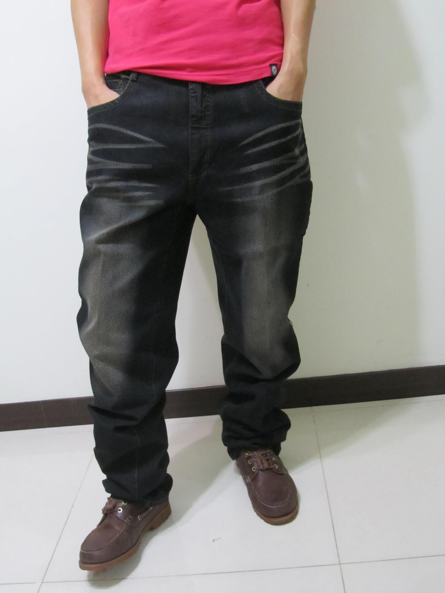 sun-e加大尺碼台灣製造復古.後口袋日系和風繡圖牛仔直筒長褲、加大尺碼黑色牛仔褲、加大尺碼牛仔長褲、加大尺碼單寧長褲、加大尺碼褲子、(390-1388-37) 腰圍:40 42 44 46 48(英吋) 1