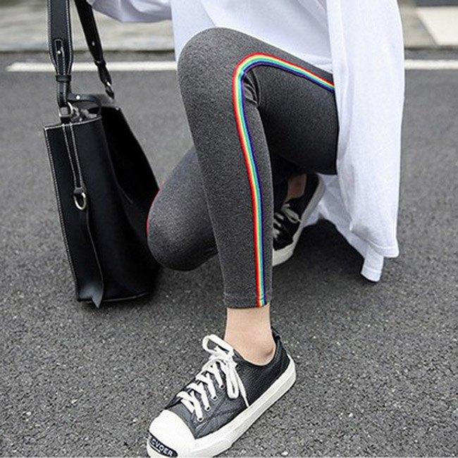 長褲 素色 側邊 彩色條紋 運動 小腳褲 貼身 內搭 長褲【MZEJ17024】 BOBI  09 / 05 0