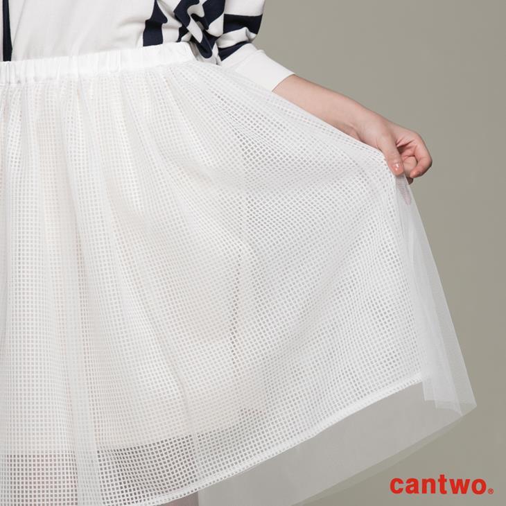 cantwo方格網紗多層及膝紗裙(共二色) 4