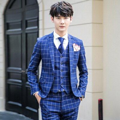 西裝外套西服套裝(三件套)-復古經典方格造型男裝2色73hc56【獨家進口】【米蘭精品】