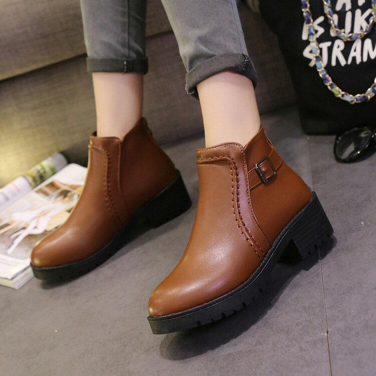 2017 圓頭短靴女靴 粗跟馬丁靴低跟靴套腳裸靴靴復古刷色軍靴工程靴