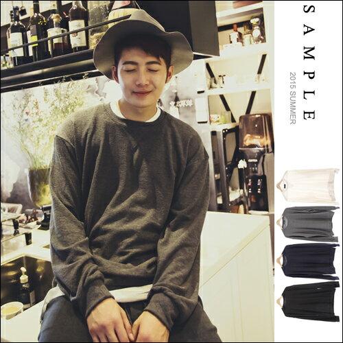 sample:現貨長T【SA13911】韓國製素面毛巾布針織薄款大學T【Sample】-C.W共4色