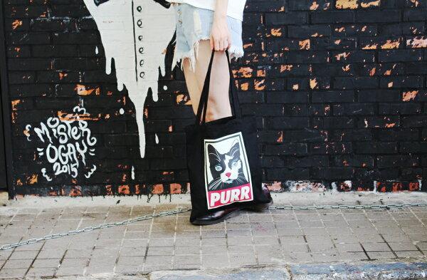 SEIO:帆布包禮物歐美經典SEIO黑色設計環保帆布包經典黑色PURR貓咪交換禮物手拿肩背包