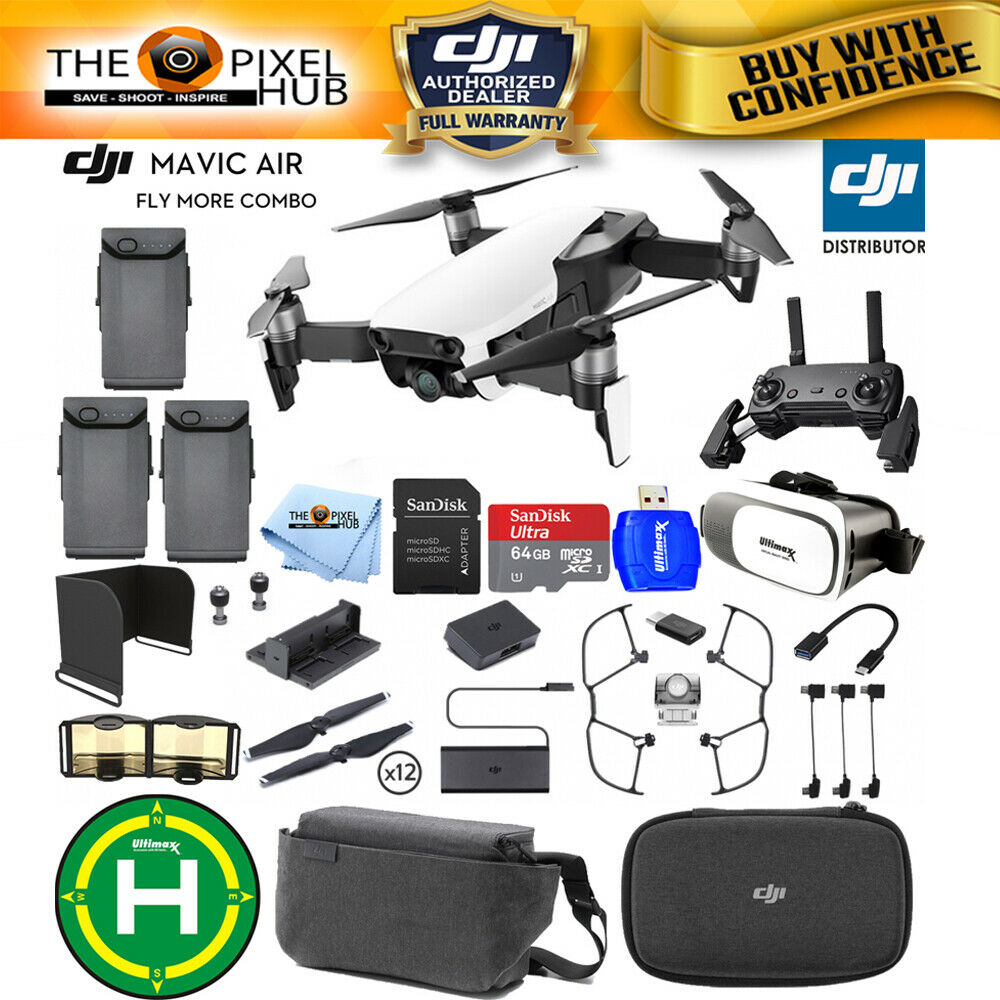 DJI Mavic Air Fly More Combo (Arctic White) CP PT 00000165 02 - DJI  REFURBISHED EXTREME BUNDLE with 64GB MicroSD, Landing Pad, VR Goggles + MORE