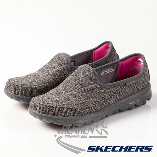 SKECHERS 女健走鞋GOwalk-AFFIX (灰色) 毛衣針織鞋面 抗菌除臭鞋墊 娃娃鞋