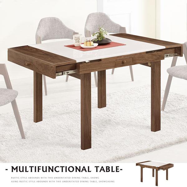 餐桌飯桌方桌會議桌麻將桌【Yostyle】席克石面三用桌-胡桃色
