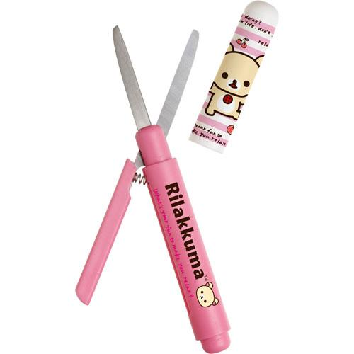 【百倉日本舖】日本進口 拉拉熊 筆型剪刀(附蓋)/攜帶式剪刀