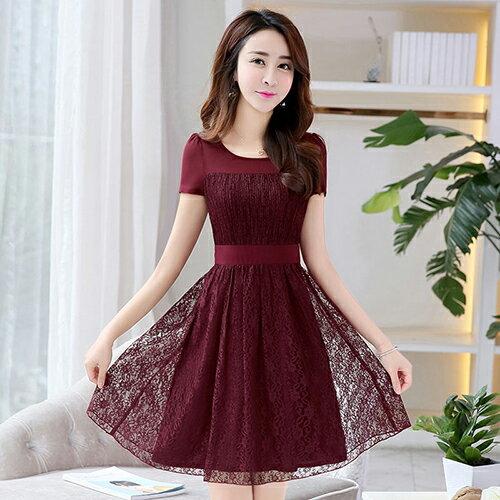拼接蕾絲雪紡連身裙(4色M~2XL) 【OREAD】 0