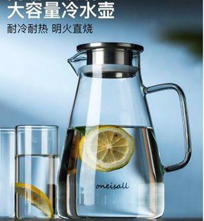 冷水壺家用冷水壺玻璃耐熱高溫涼白開水杯茶壺扎壺防爆大容量水瓶涼茶壺