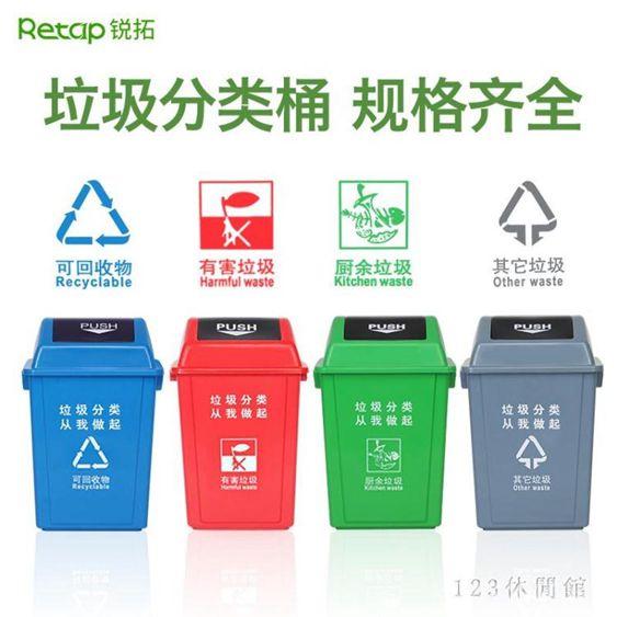 戶外垃圾桶四色分類搖蓋環衛大號家用翻蓋商用有蓋學校小區垃圾箱LB18952