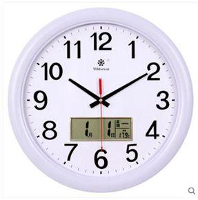 掛鐘家用大掛鐘客廳簡約現代時鐘靜音圓形個性時尚電子日歷鐘表石英鐘